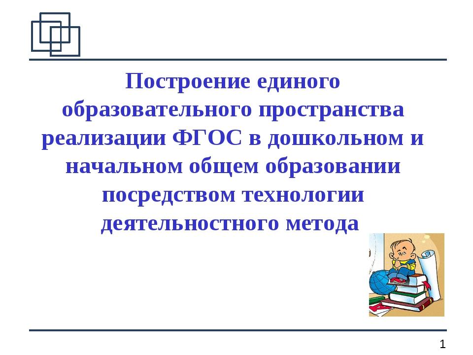 Построение единого образовательного пространства реализации ФГОС в дошкольном...