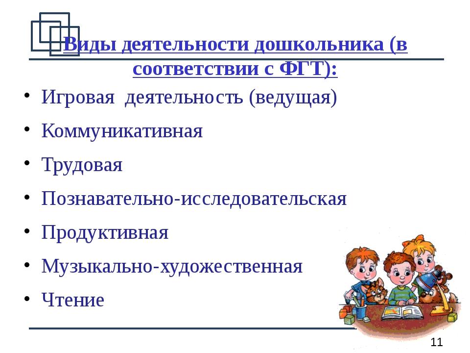 Виды деятельности дошкольника (в соответствии с ФГТ): Игровая деятельность (в...