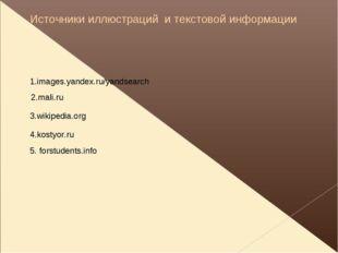 Источники иллюстраций и текстовой информации 1.images.yandex.ru/yandsearch 2.