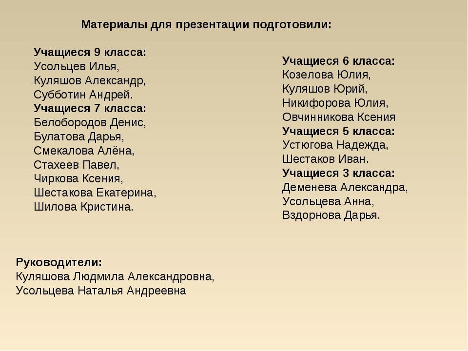 Материалы для презентации подготовили: Учащиеся 9 класса: Усольцев Илья, Кул...