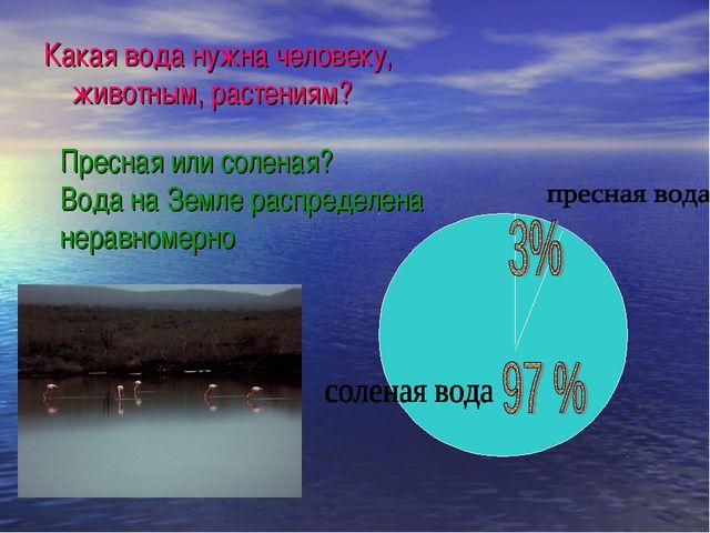 Какая вода нужна человеку, животным, растениям? Пресная или соленая? Вода на...