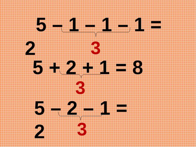 5 – 2 – 1 = 2 5 – 1 – 1 – 1 = 2 3 3 5 + 2 + 1 = 8 3