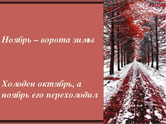 Ноябрь – ворота зимы Холоден октябрь, а ноябрь его перехолодил
