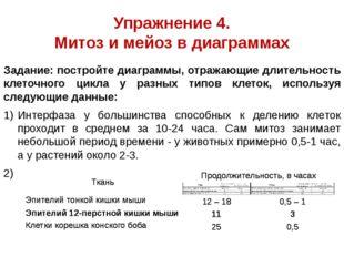 Упражнение 4. Митоз и мейоз в диаграммах Задание: постройте диаграммы, отража