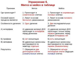 Упражнение 6. Митоз и мейоз в таблице Признаки Митоз Мейоз Где происходит? 1.