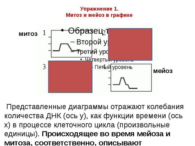 Упражнение 1. Митоз и мейоз в графике Представленные диаграммы отражают колеб...