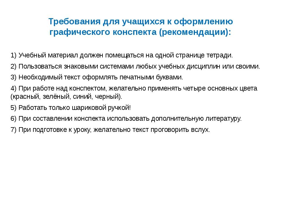 Требования для учащихся к оформлению графического конспекта (рекомендации): 1...