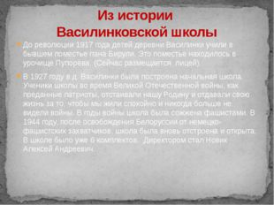 До революции 1917 года детей деревни Василинки учили в бывшем поместье пана Б