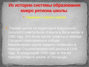 Сведения о первые школах Первая школа на территории Бокшицкого сельского сов