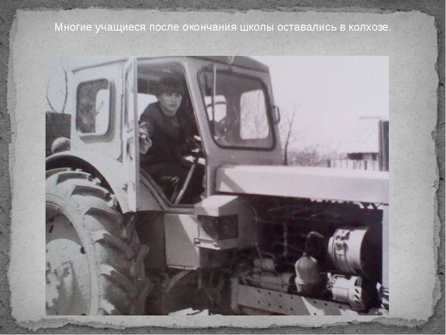 Многие учащиеся после окончания школы оставались в колхозе.