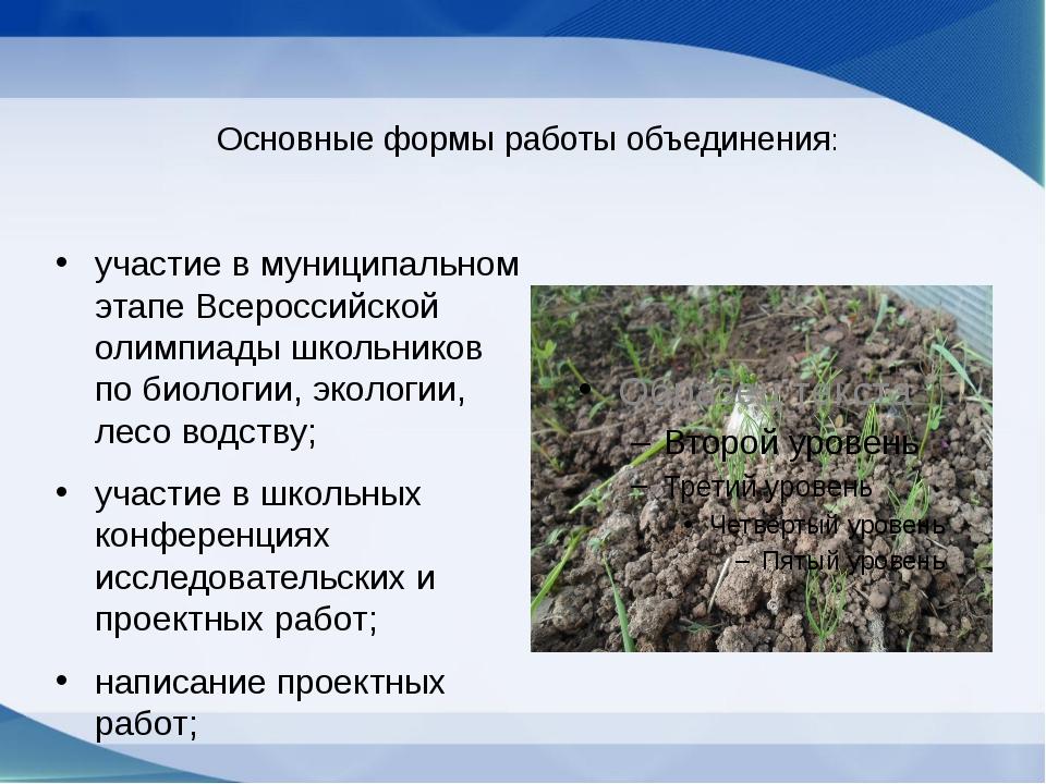 Основные формы работы объединения: участие в муниципальном этапе Всероссийск...