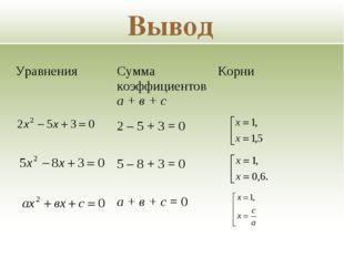 Вывод Уравнения Сумма коэффициентов а + в + сКорни 2 – 5 + 3 = 0 5 – 8 +