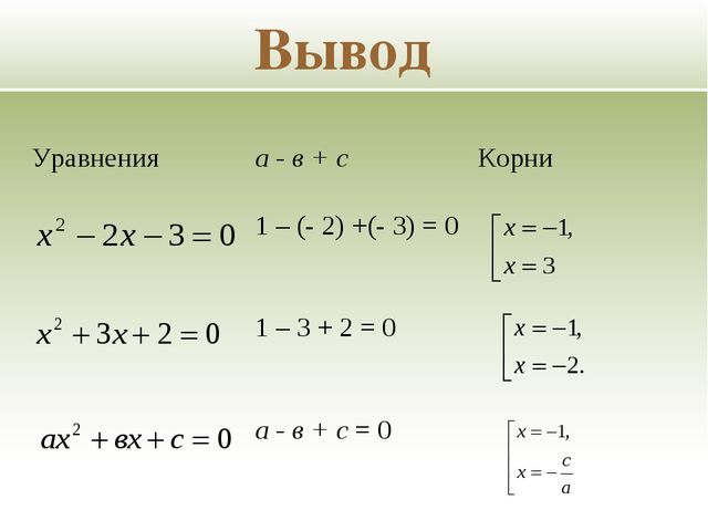 Вывод Уравнения а - в + сКорни 1 – (- 2) +(- 3) = 0 1 – 3 + 2 = 0 а -...
