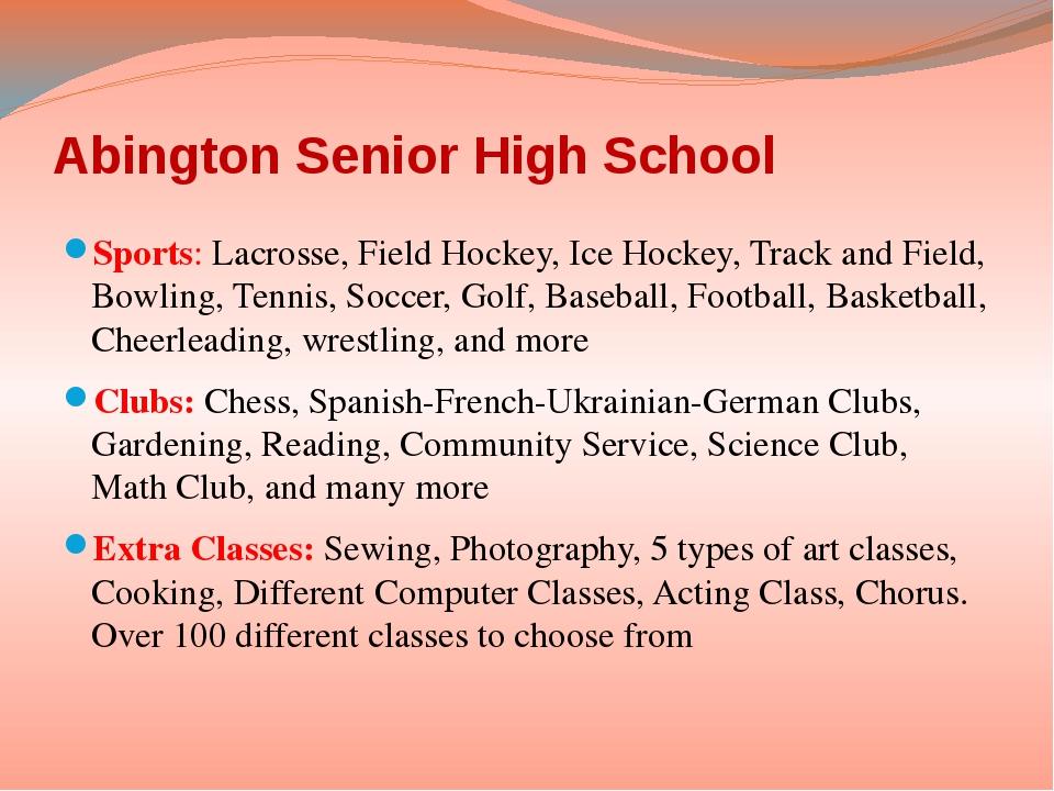 Abington Senior High School Sports: Lacrosse, Field Hockey, Ice Hockey, Track...
