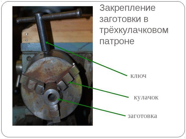 Закрепление заготовки в трёхкулачковом патроне заготовка кулачок ключ