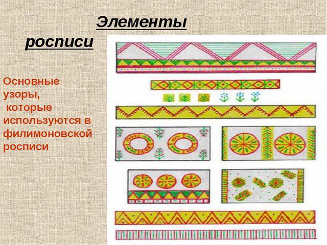 Основные узоры, которые используются в филимоновской росписи Элементы росписи