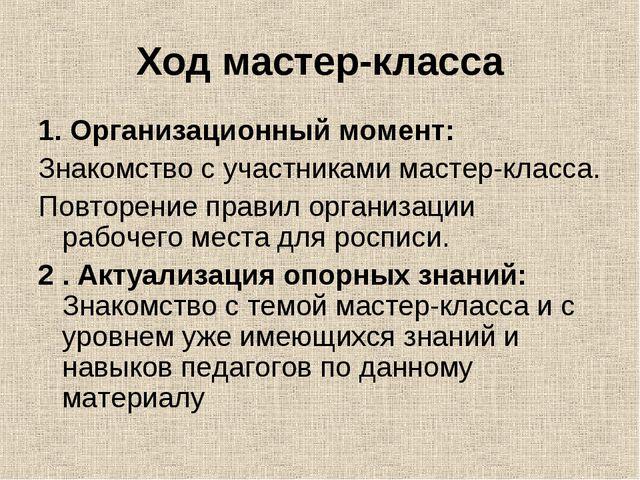 Ходмастер-класса 1.Организационный момент: Знакомство с участниками мастер...