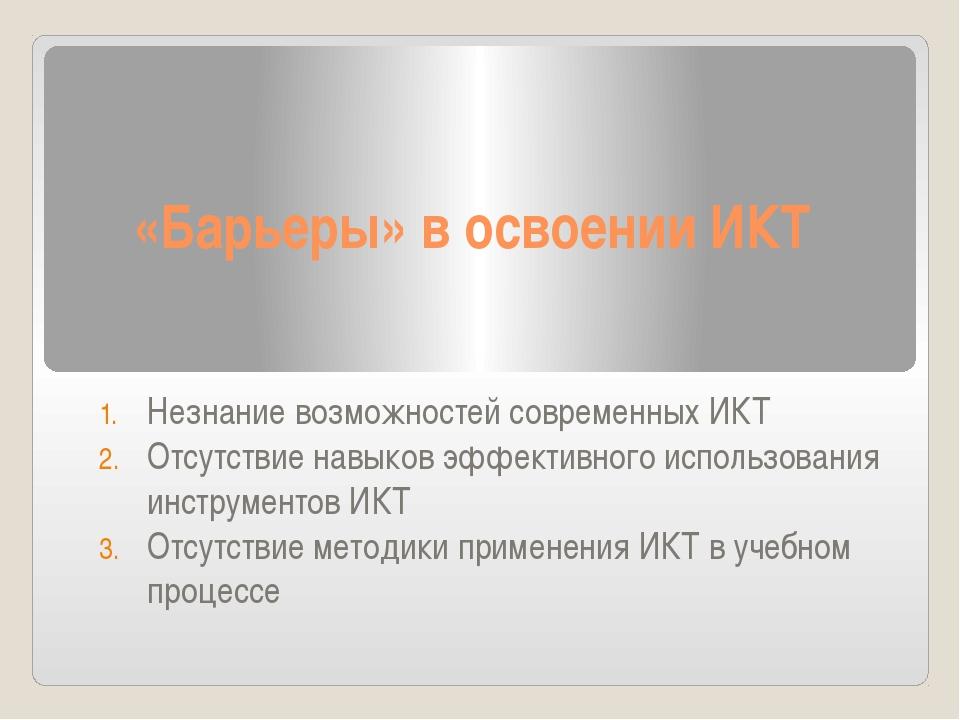 «Барьеры» в освоении ИКТ Незнание возможностей современных ИКТ Отсутствие нав...