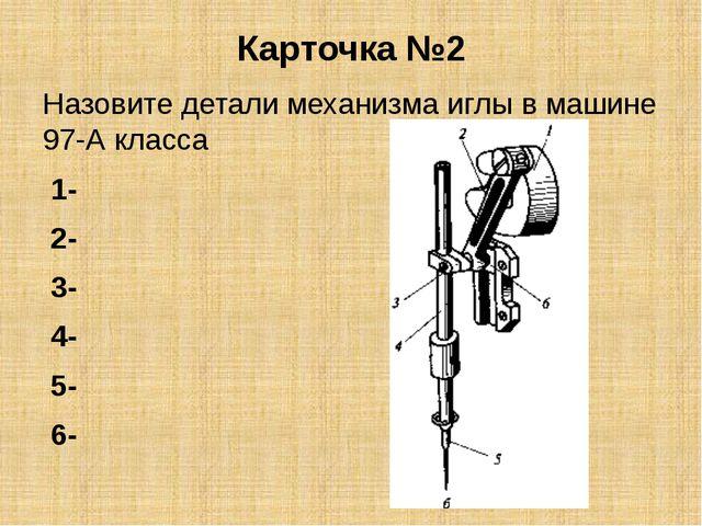 Карточка №2 Назовите детали механизма иглы в машине 97-А класса 1- 2- 3- 4- 5...