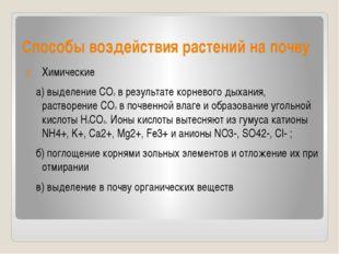 Способы воздействия растений на почву Химические а) выделение СО2 в результат