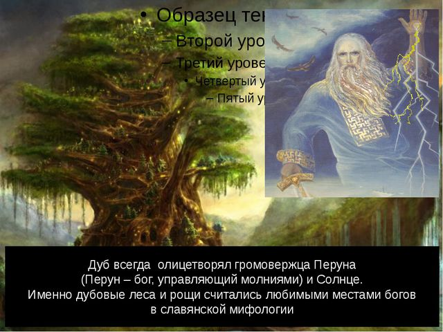 Дуб всегда олицетворял громовержца Перуна (Перун – бог, управляющий молниями)...