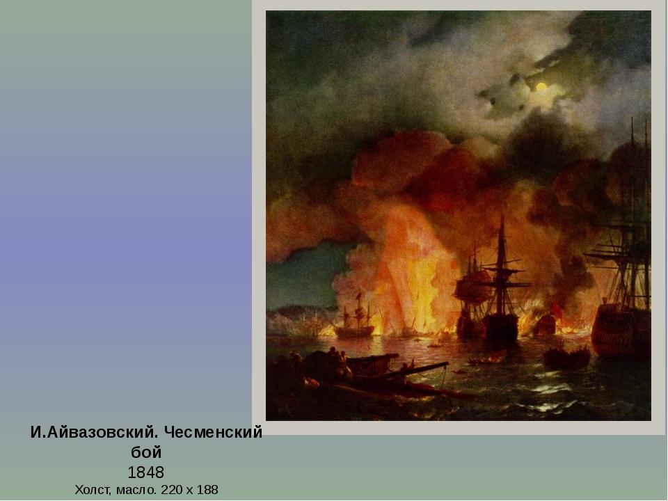 И.Айвазовский. Чесменский бой 1848 Холст, масло. 220 х 188 Феодосийская карти...