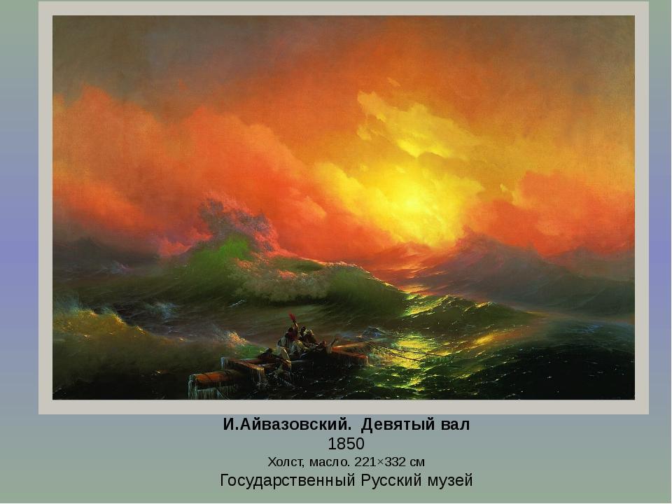 И.Айвазовский. Девятый вал 1850 Холст, масло. 221×332см Государственный Русс...