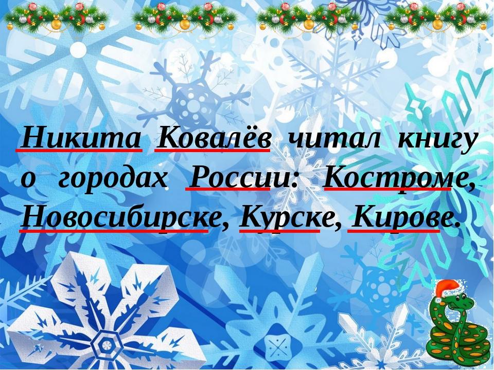 Никита Ковалёв читал книгу о городах России: Костроме, Новосибирске, Курске,...