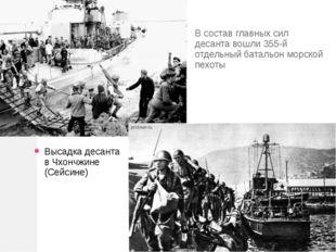 В состав главных сил десанта вошли 355-й отдельный батальон морской пехоты Вы