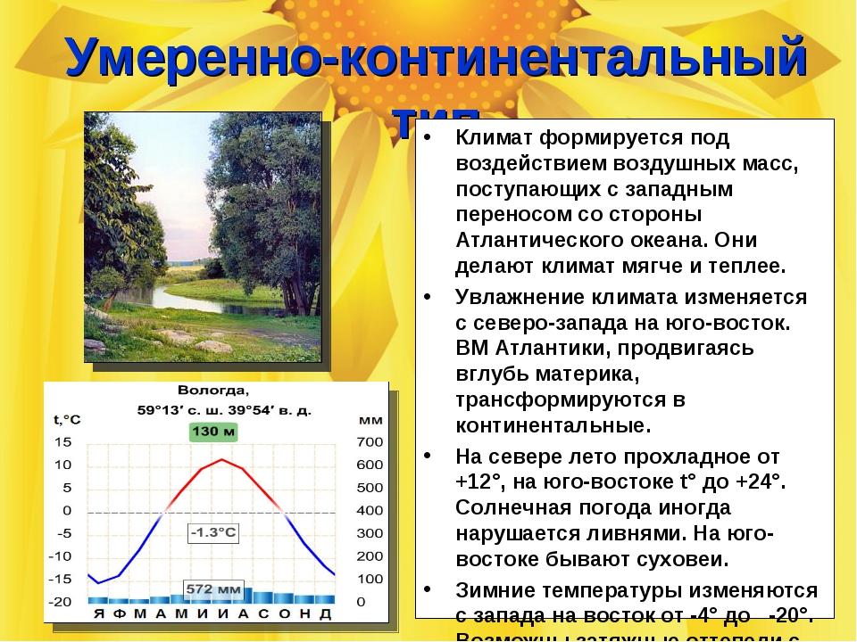 Восточно-Европейская равнина Умеренно-континентальный тип Климат формируется...