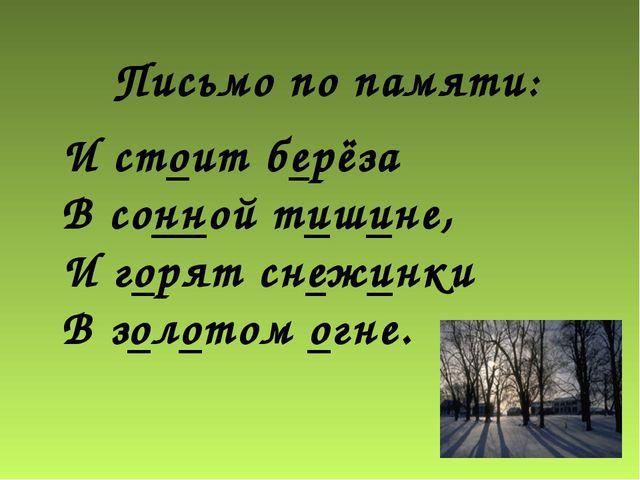 И стоит берёза В сонной тишине, И горят снежинки В золотом огне. Письмо по па...