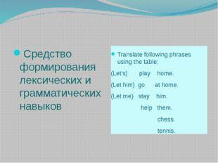 Средство формирования лексических и грамматических навыков Translate followi