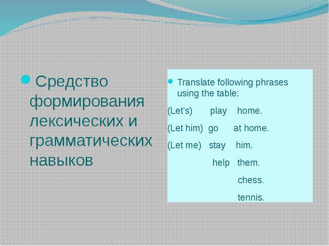 Средство формирования лексических и грамматических навыков Translate followi...