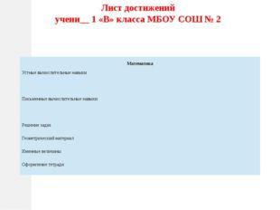 Лист достижений учени__ 1 «В» класса МБОУ СОШ № 2 Математика Устные вычислите