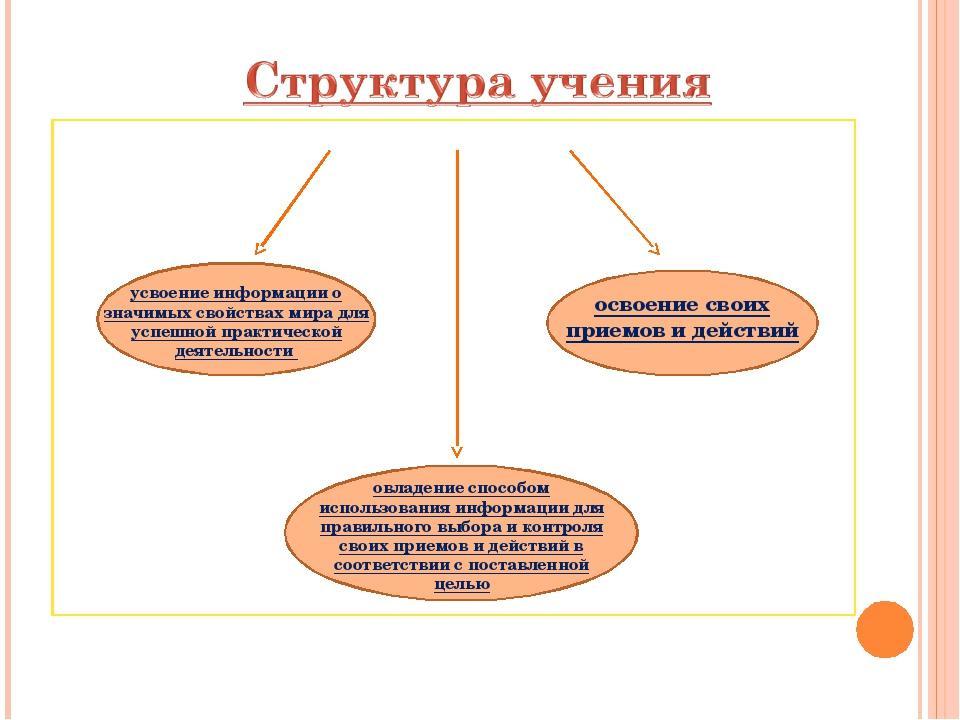 усвоение информации о значимых свойствах мира для успешной практической деяте...