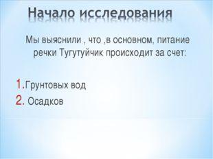 Мы выяснили , что ,в основном, питание речки Тугутуйчик происходит за счет: Г