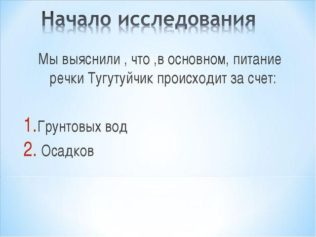 Мы выяснили , что ,в основном, питание речки Тугутуйчик происходит за счет: Г...