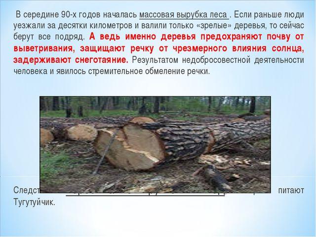 В середине 90-х годов началась массовая вырубка леса . Если раньше люди уезж...