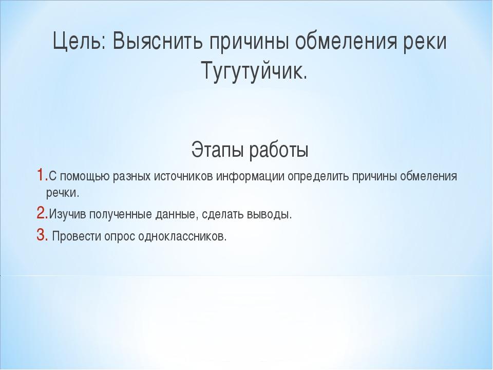 Цель: Выяснить причины обмеления реки Тугутуйчик. Этапы работы С помощью разн...