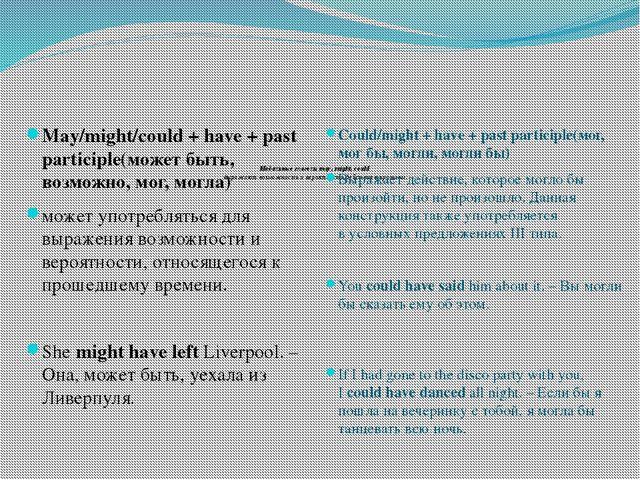 Модальные глаголы may, might, could выражают возможность и вероятность дейст...