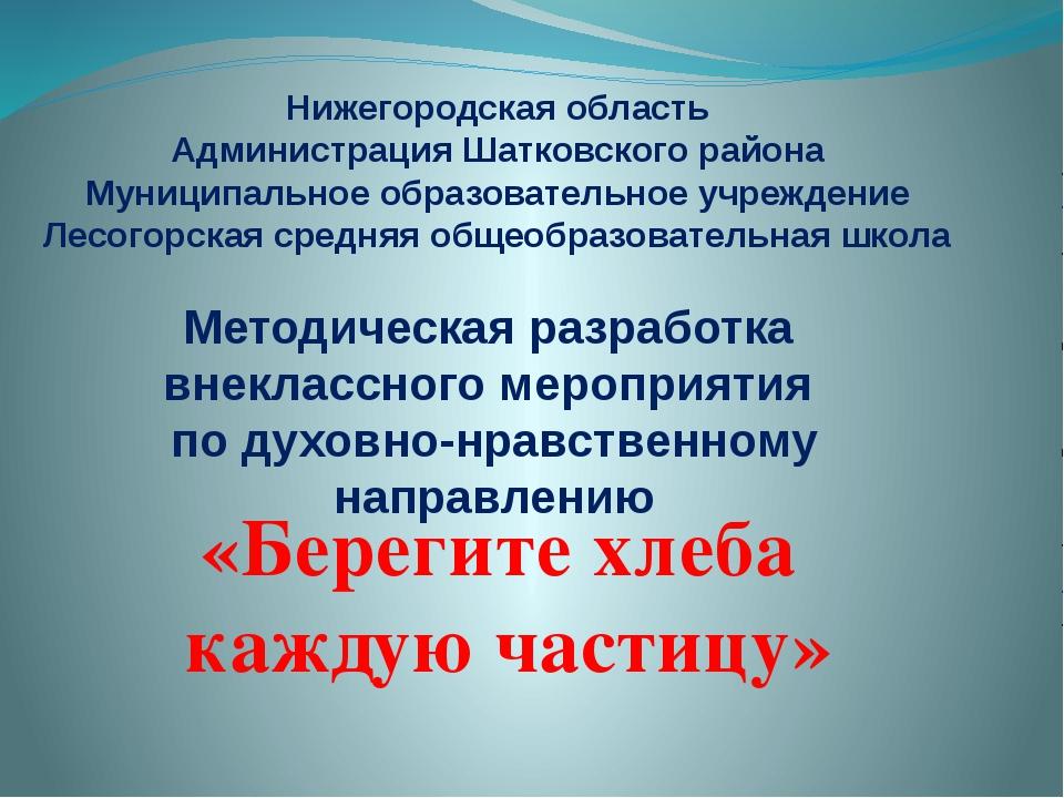 Нижегородская область Администрация Шатковского района Муниципальное образова...