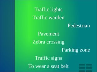 Traffic lights Traffic warden Pedestrian Pavement Zebra crossing Parking zon