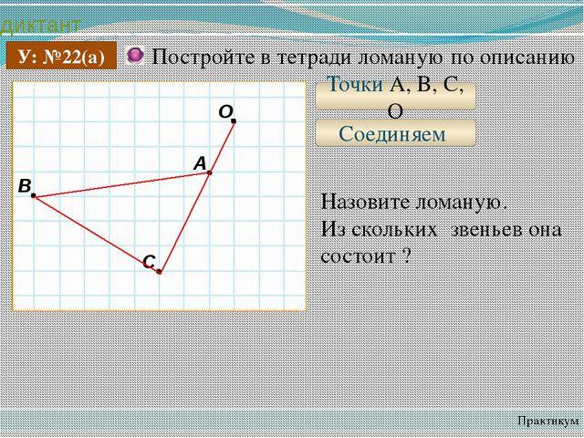 диктант Практикум У: №22(а) Постройте в тетради ломаную по описанию Точки A,...