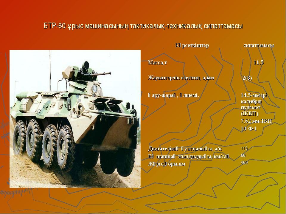 БТР-80 ұрыс машинасының тактикалық-техникалық сипаттамасы Көрсеткіштерсипатт...