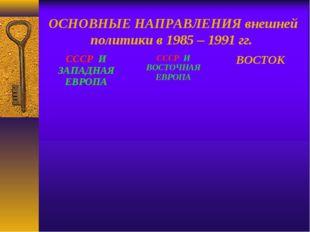 ОСНОВНЫЕ НАПРАВЛЕНИЯ внешней политики в 1985 – 1991 гг. СССР И ЗАПАДНАЯ ЕВРОП