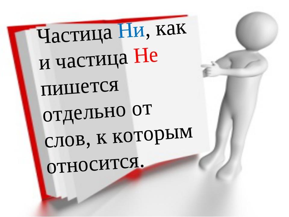Частица Ни, как и частица Не пишется отдельно от слов, к которым относится.