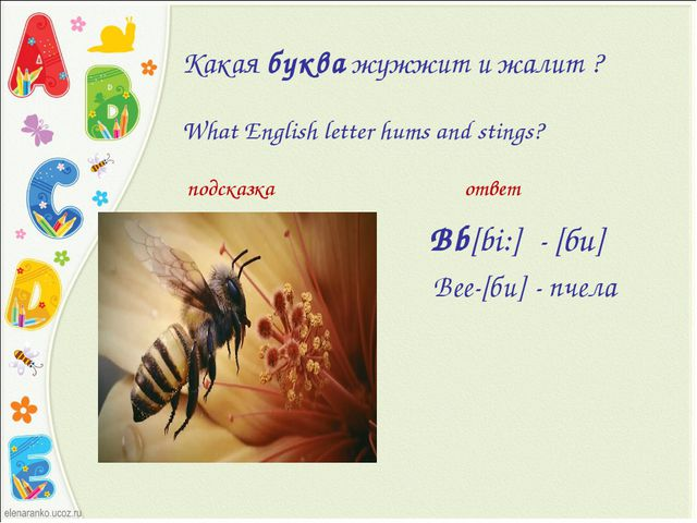 Какаябукважужжит и жалит ? What English letter hums and stings? Bb[bi:] - [...