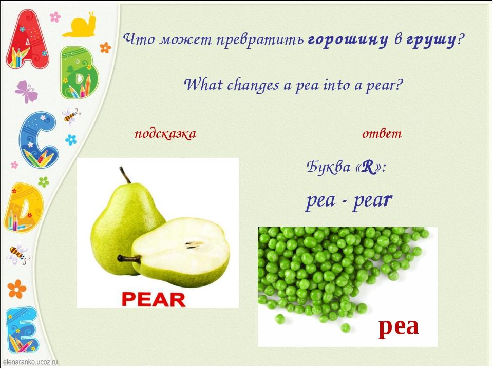 Что может превратитьгорошинувгрушу?  What changes a pea into a pear...