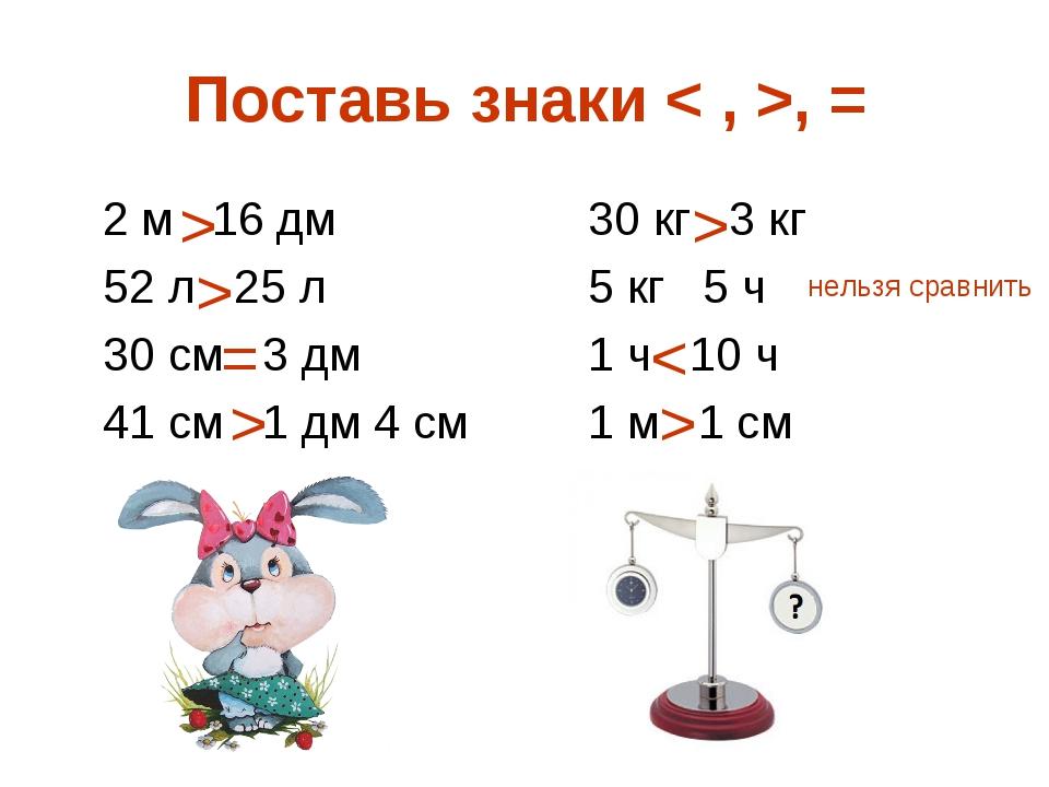 Поставь знаки < , >, = 2 м 16 дм30 кг 3 кг 52 л 25 л5 кг 5 ч 30 см 3...