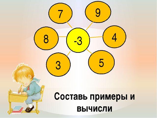Составь примеры и вычисли 8 7 3 5 4 -3 9